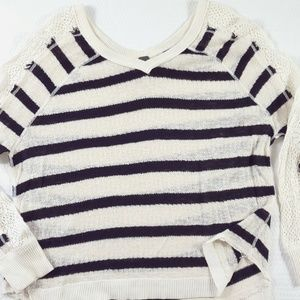 Free People Striped Sheer Knit Cotton Sweater F01